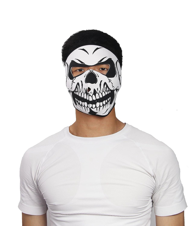ThreeH Maschera del cranio viso reversibile nera del motociclo del motociclo del pattino FM08