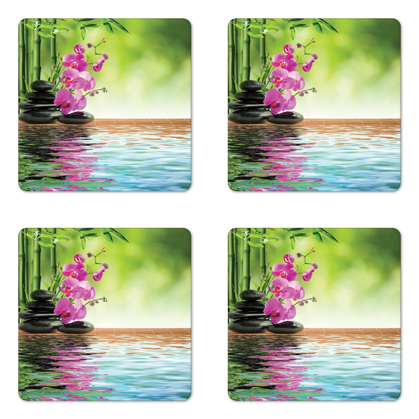 Ambesonne Spa Coaster Set of Four, Orchid Flower Stone Oriental Culture Spirituality Wellness Tropical Holiday, Square Hardboard Gloss Coasters for Drinks, Fern Green Fuchsia
