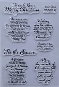 MaGuo Sentiments Warm Friendly Christmas Clear Stamps for DIY Paper Craft Card Making Decoration or Scrapbooking