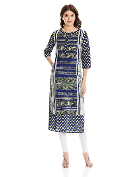 13e529774b651 Amazon.com: Jaipur Kurti Women Indian Long Tunic Top Printed Straight Crepe  Kurta: Clothing