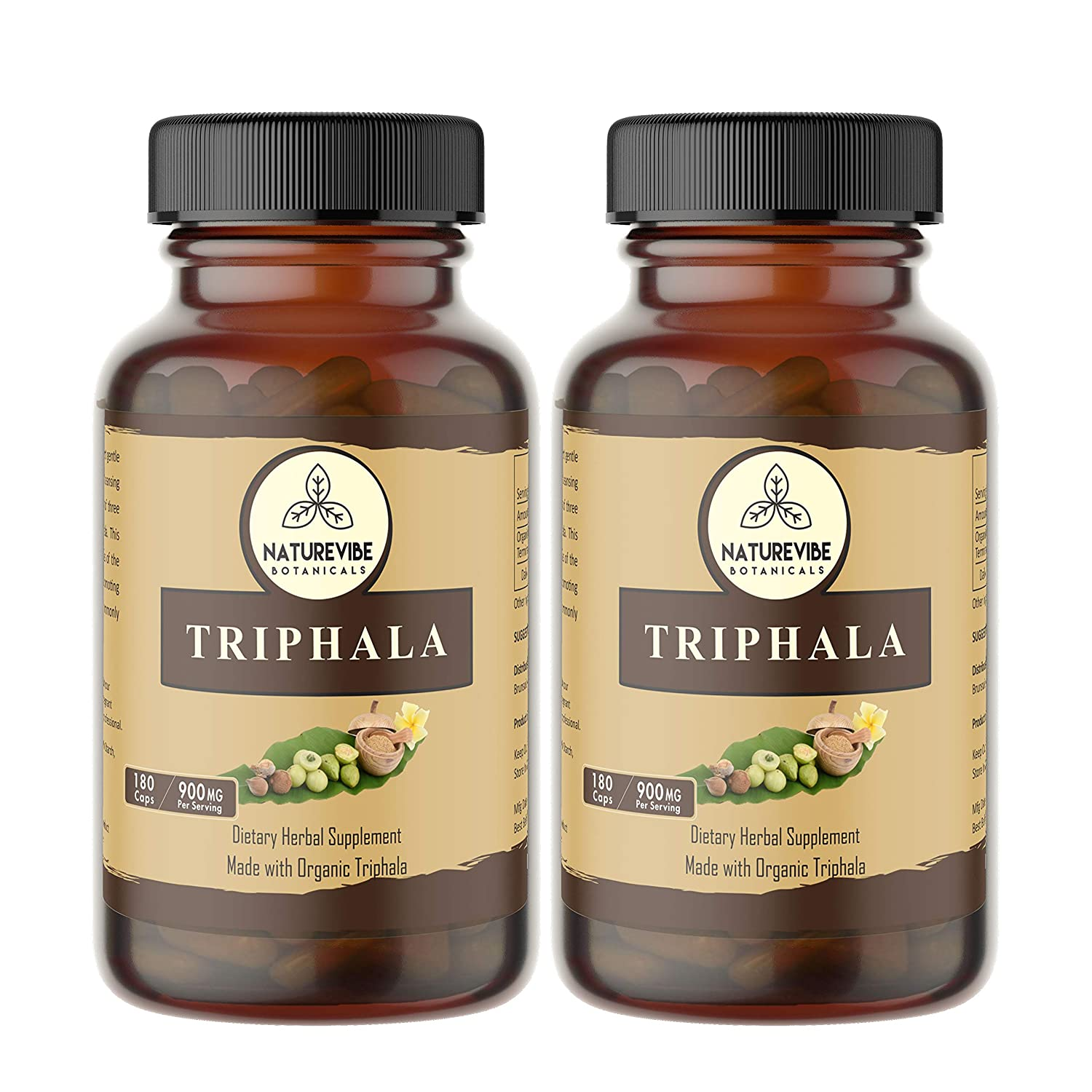 360 Capsules Organic Triphala 100 Organic Triphala Powder, 900mg Per Serving Veg Capsules 2 Pack of 180 Cap Each