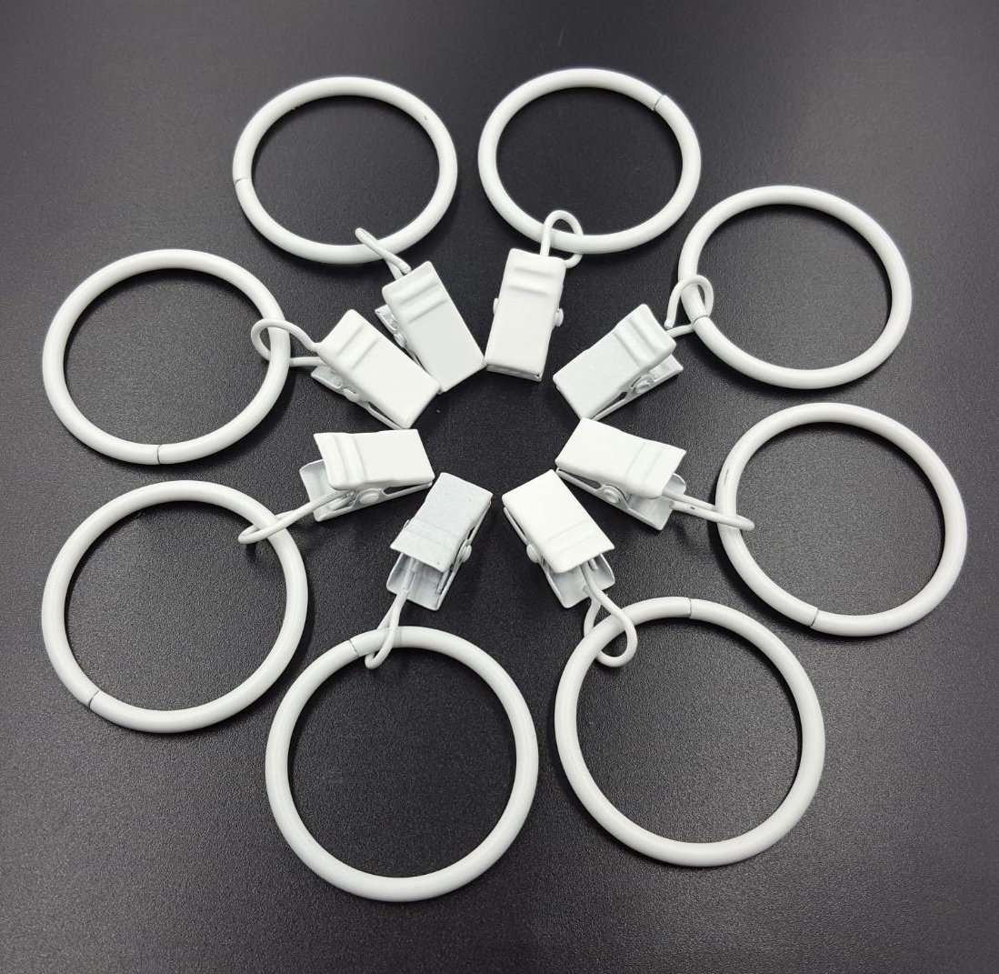 Aiskaer 32 Pieces Glossy White Metal Curtain Clip Rings 1.2 Inch Interior Diameter
