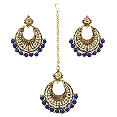 d2d747db1 Buy Nishivjewels Gold Oxo Dark/navy Blue Afghani Earrings and Tika for  Women Online at Low Prices in India | Amazon Jewellery Store - Amazon.in