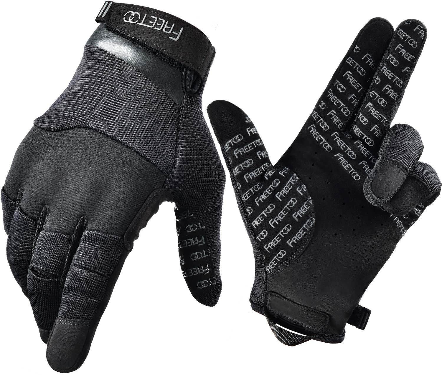 FREETOO tactical gloves in color black with FREETOO prints on the palm part, made of silicone material.