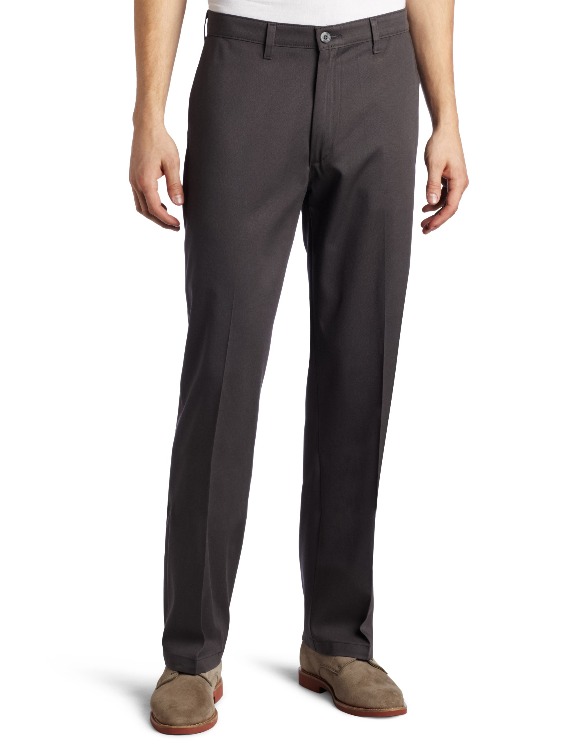 Lee Men's Comfort Waist Custom Relaxed Fit Flat Front Pant,Shadow Grey, 36W x 29L