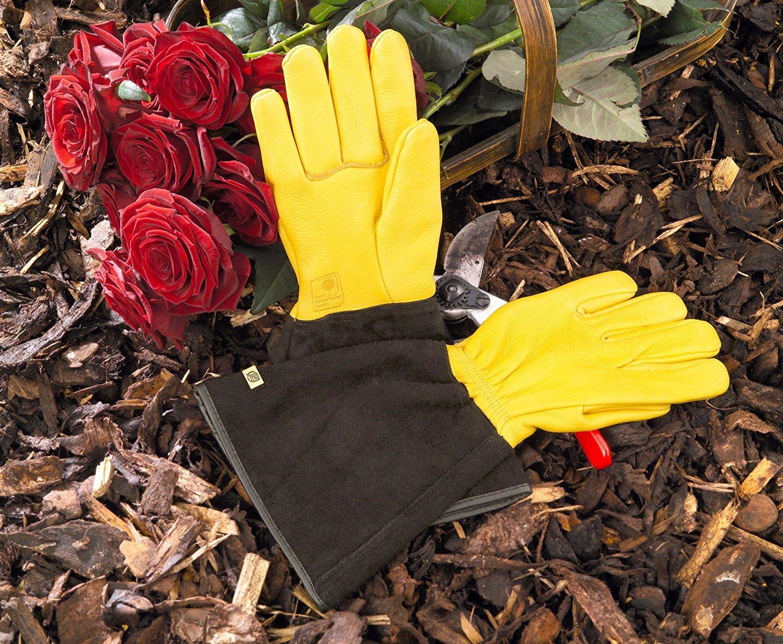 WAGNER Gold Leaf Gloves 'TOUGH TOUCH' Herren - Gartenhandschuhe / Rosenhandschuhe der Extraklasse, Hirschleder und Rindsleder / stachelresistent - 25305000 Wagner System GmbH
