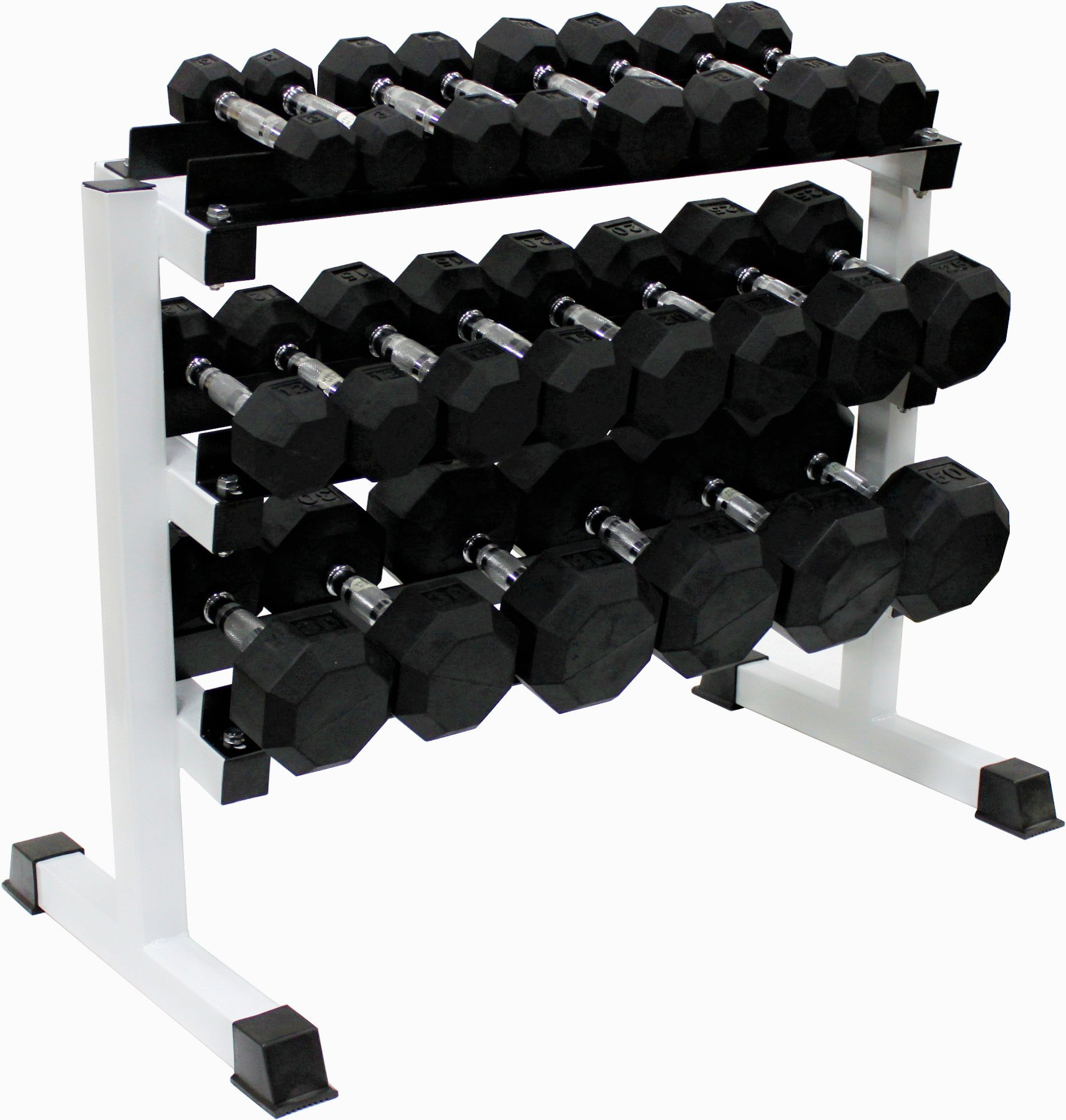 Ader 11Pairs Octagon Rubber Dumbbell 2-50lb with 3 Tier 36'' Dumbbell Rack and 4' Rubber Mat