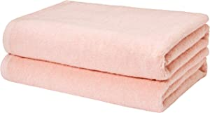 AmazonBasics Quick-Dry, Luxurious, Soft, 100% Cotton Towels, Petal Pink - Set of 2 Bath Towels