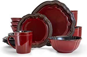 Elama EL-REGENCY16 Regency 16 Piece Luxurious Stoneware Dinnerware with Complete Setting for 4, 16pc, pc, Red