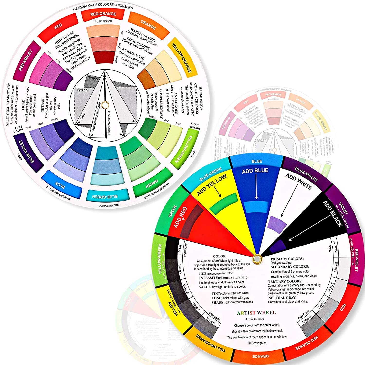 Amazon Com 2 Pieces Color Wheel Paint Mixing Learning Guide Art Class Teaching Tool Color Wheels For Makeup Blending Board Chart Color Mixed Guide Mix Colours 5 5 Inch 14 Cm Home Improvement