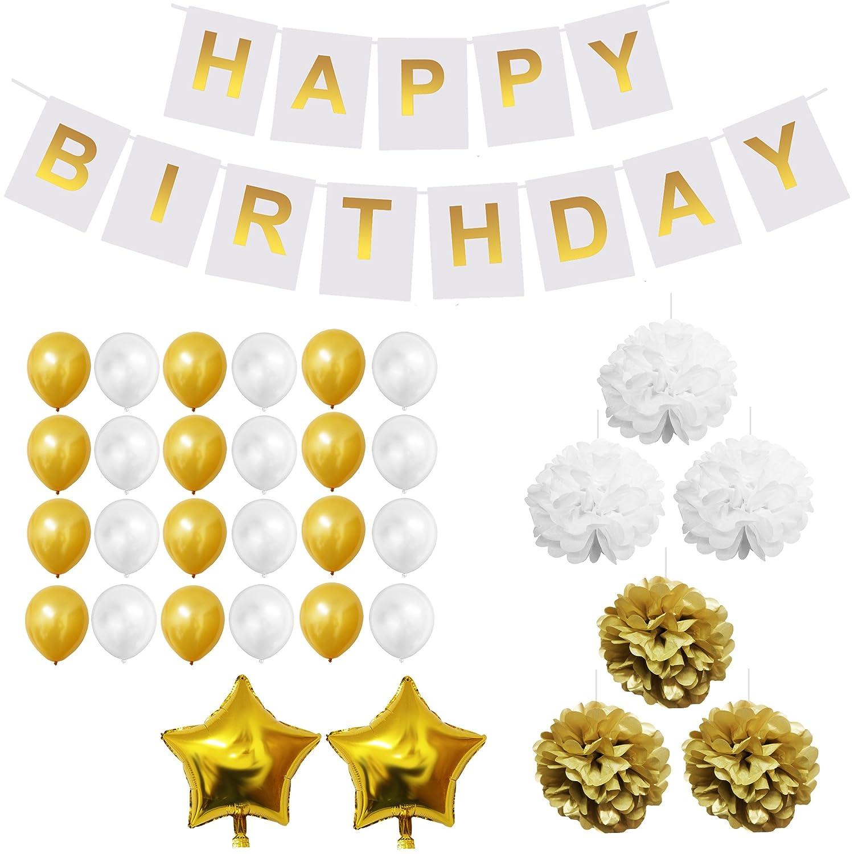 Set Decoraciones Fiesta 33 Piezas Doradas y Blancas - Pompones, Globos de Látex y de Papel de Aluminio y Pancartas para Celebraciones de Cumpleaños y ...