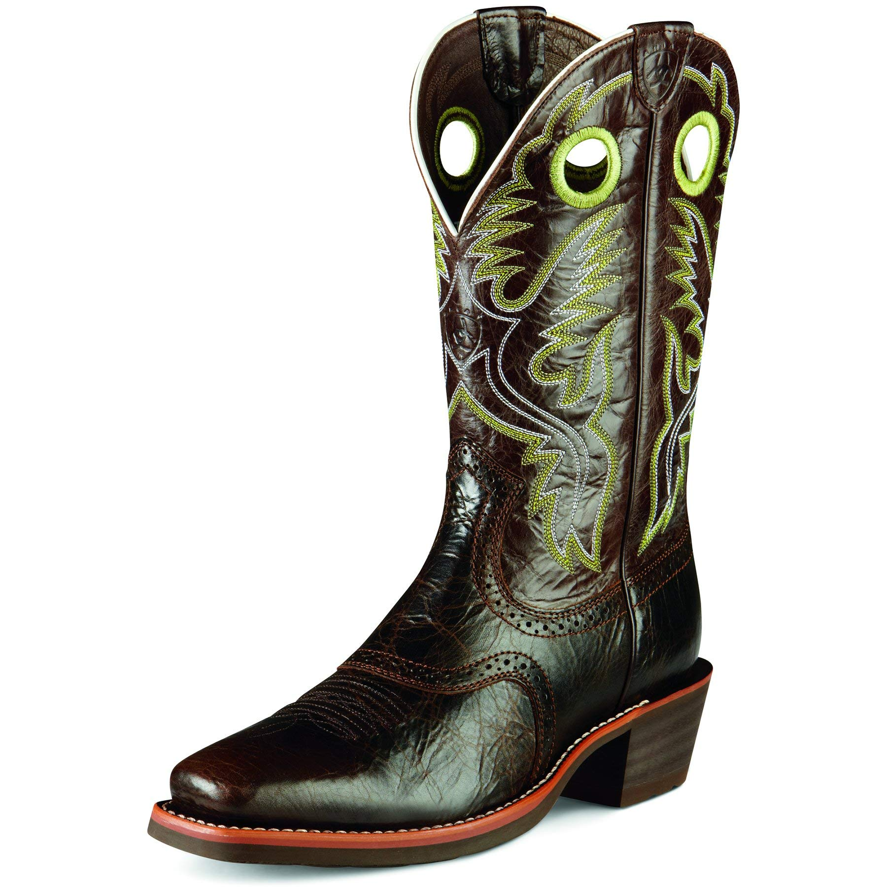 Ariat Men's Heritage Roughstock Western Cowboy Boot, Thunder Brown, 9  D by ARIAT