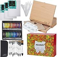 """MEEDEN 46 Pcs Easel Painting Set - 24 Colors Acrylic Paints Set, 3pcs 9"""" x 12"""" Canvas Panels, 12 Artist Brushes Set…"""