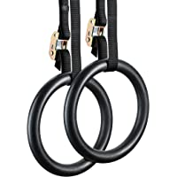 YOGU Gymnastic Rings for Strength and Muscular Bodyweight Cross-Training Workout Fitness Pull Ups and Dips Ring with Adjustable Straps (2pair Wood Or PVC)