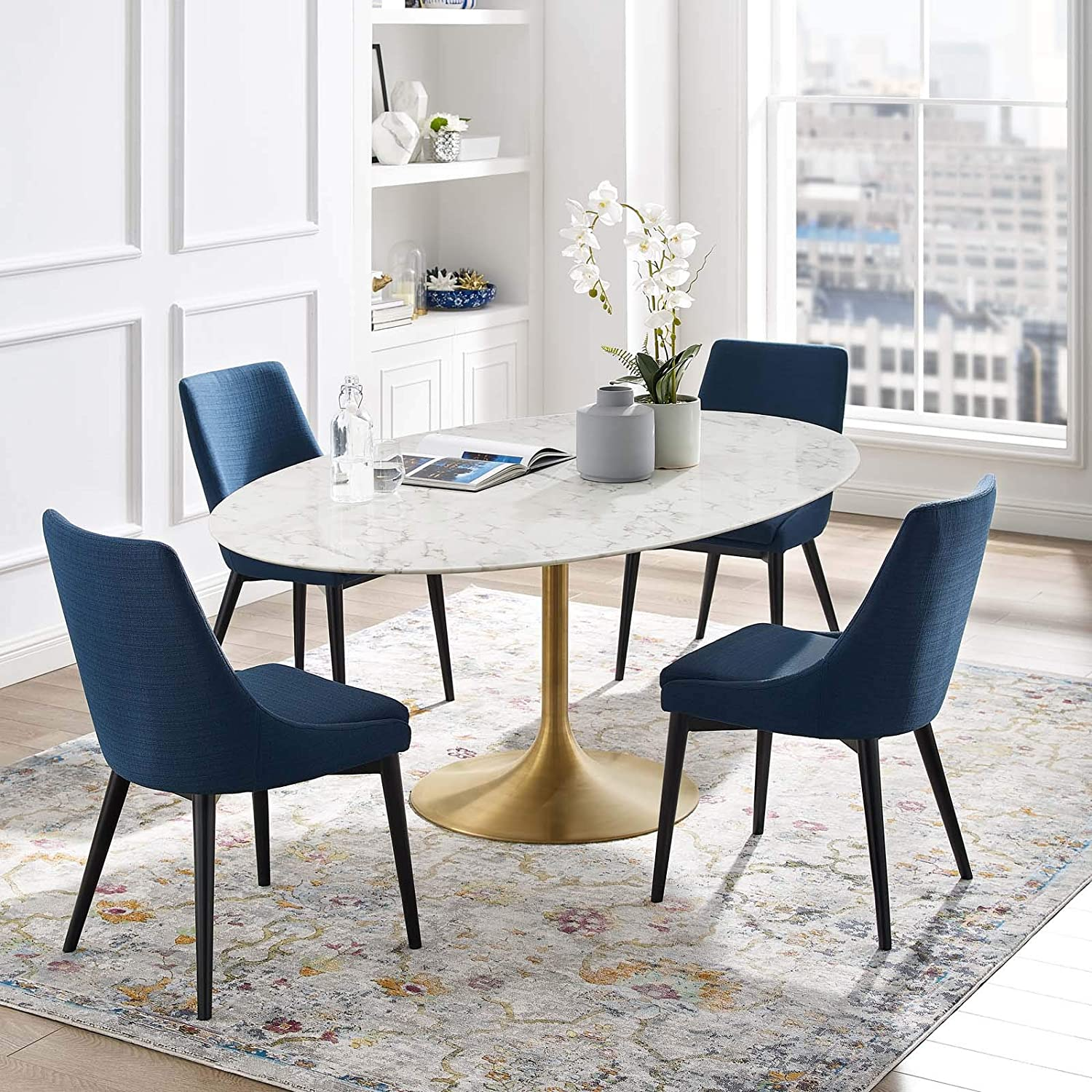 Modway Lippa 78 Oval Shaped Mid Century Modern Dining Table With Artificial Marble Top And Gold Base Tables