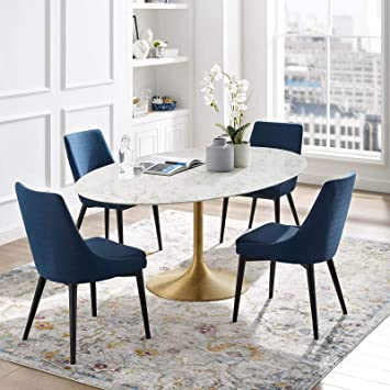 Amazon Com Modway Lippa 78 Oval Shaped Mid Century Modern Dining Table With Artificial Marble Top And Gold Base Tables