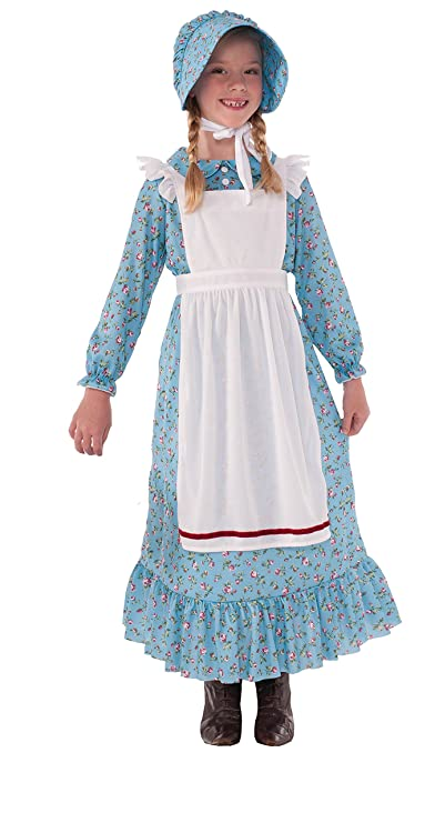Victorian Kids Costumes & Shoes- Girls, Boys, Baby, Toddler Pioneer Girl Costume Prairie Girl Laura Ingalls Wilder Dress 76235 $34.99 AT vintagedancer.com