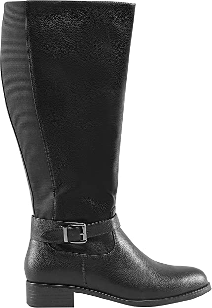 Yours Clothing Women's XL Calf Buckle Rider Boot in Extra Wide Fit