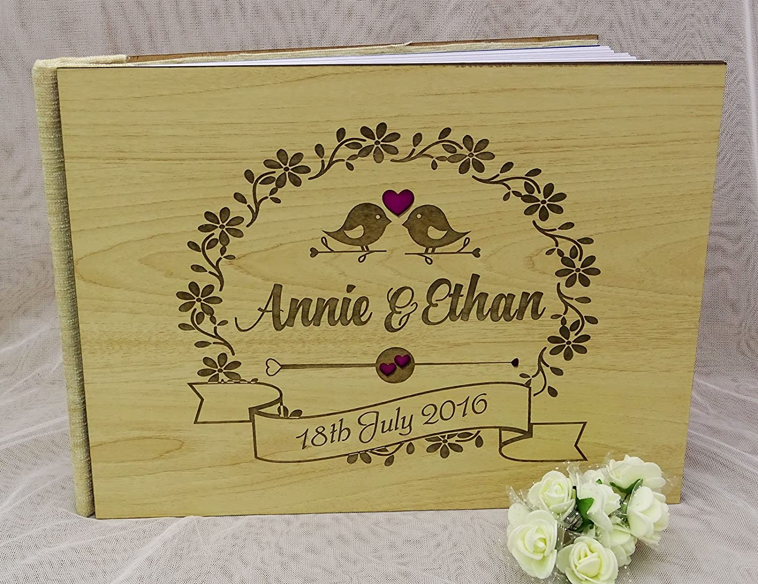 50 Pages Floral /& Bird Custom Wood Wedding Guest Book Rustic Wooden Engraved Guestbook