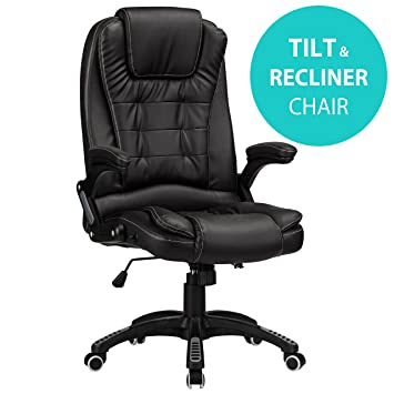 22ae1dff5891 RayGar Black Luxury Faux Leather High Back Reclining Recliner Office Chair  Swivel Computer Desk Study (