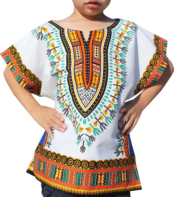 611ebc46647 RaanPahMuang Unisex Bright African White Children Dashiki Cotton Shirt   Amazon.ca  Clothing   Accessories