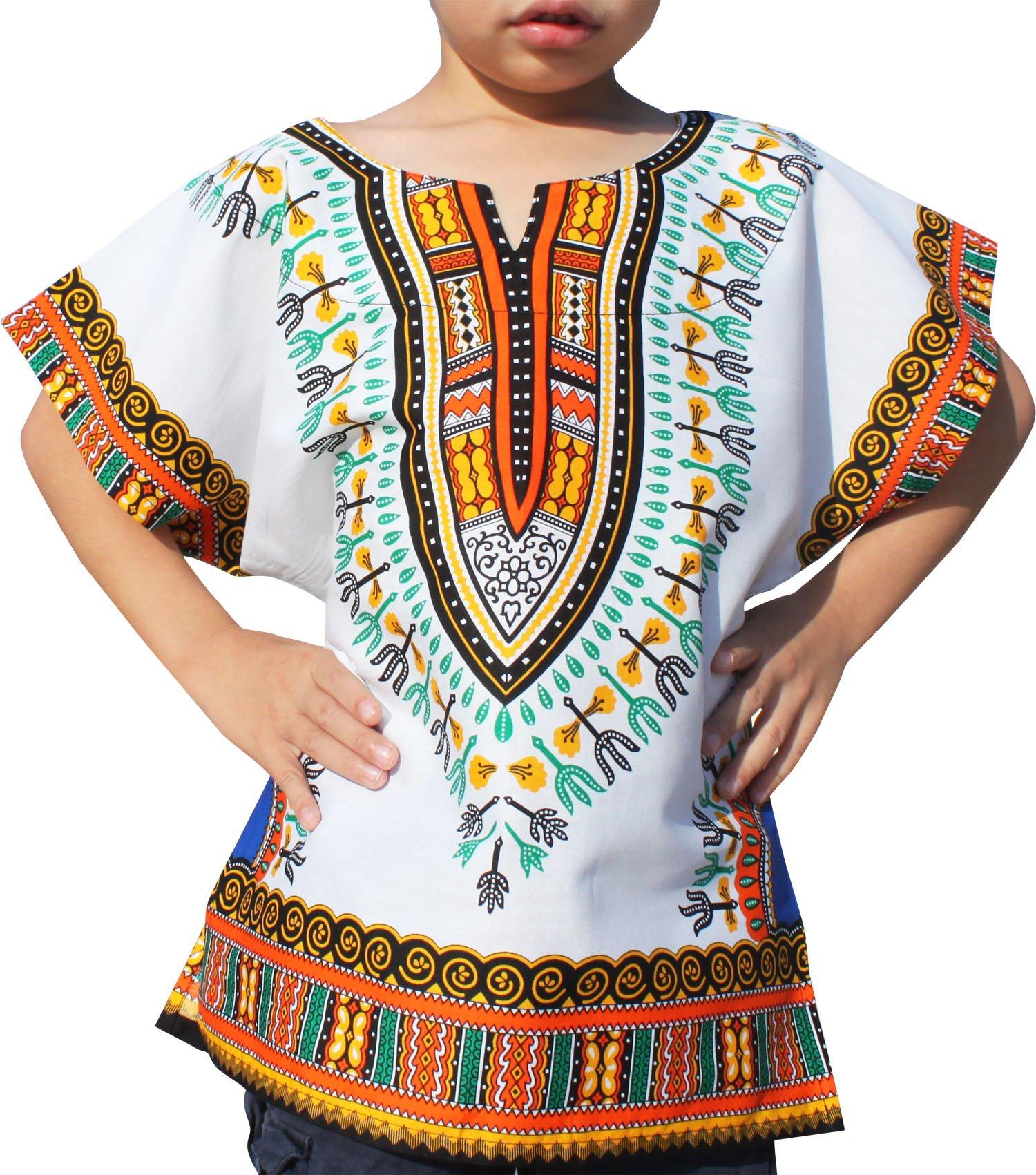 RaanPahMuang Unisex Bright African White Children Dashiki Cotton Shirt, 10-12 Years, Orange White Blue