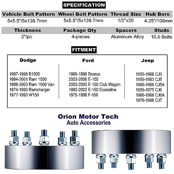 Ram 1500 Lug Pattern >> Orionmotortech 4pcs 2 Wheel Spacers 5x5 5 1 2x20 Studs