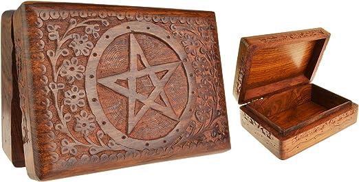 Madera maciza Pentagram Floral tallada caja de Tarot: Amazon.es: Hogar