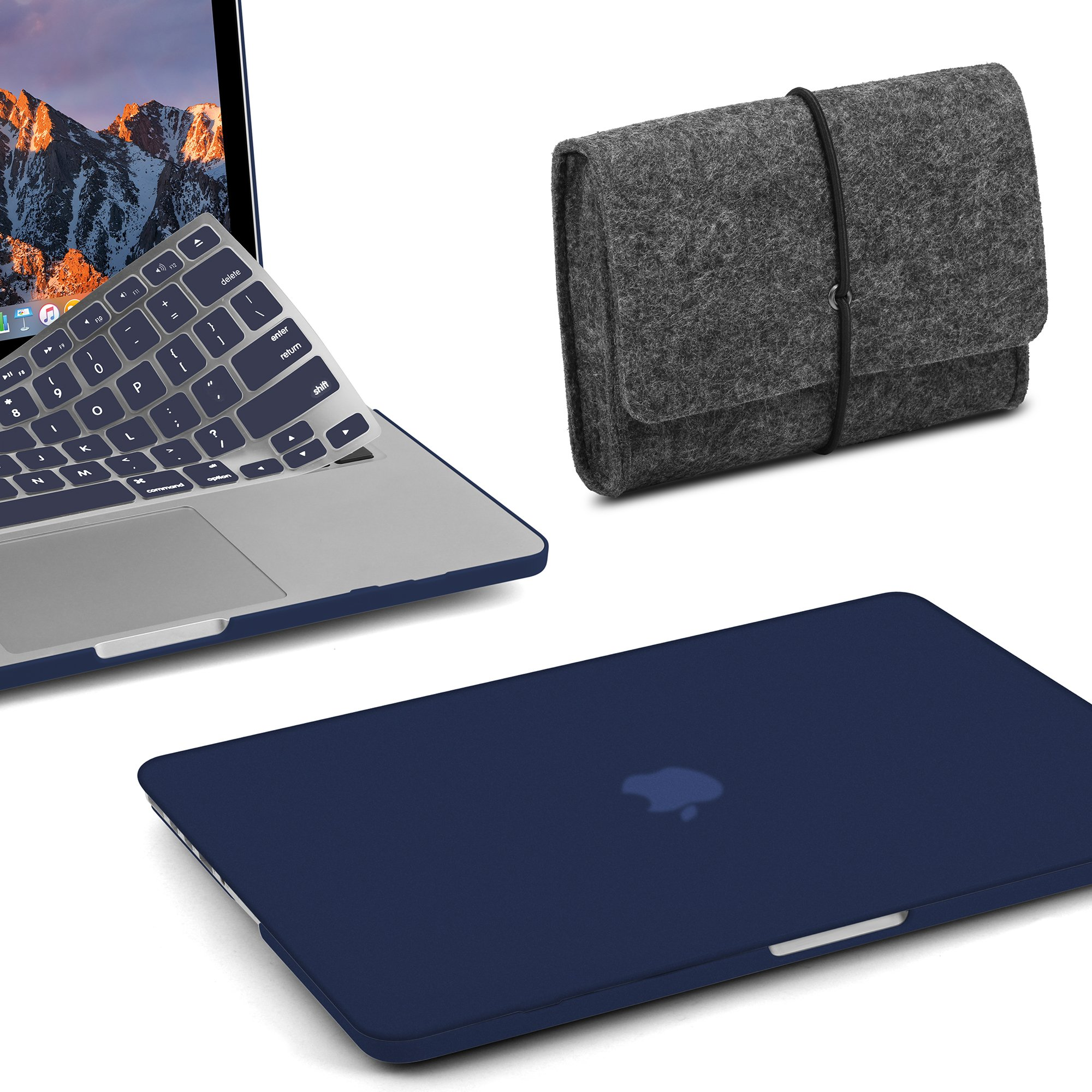 GMYLE Plastic Hard Case with Keyboard Cover with Felt Storage Pouch Bag Only Compatible MacBook Pro (No USB-C) Retina 13 Inch (No CD-ROM)(A1502/A1425), Release 2015/2014/2013/end 2012, Navy Blue