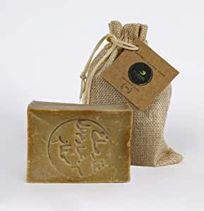 A'LLAUREL Natural Handmade 100% Authentic Aleppo Soap Bar 200 gr 85% Olive Oil and 15% Laurel Oil with Free Natural Soap Saver Pouch Bag as Gift
