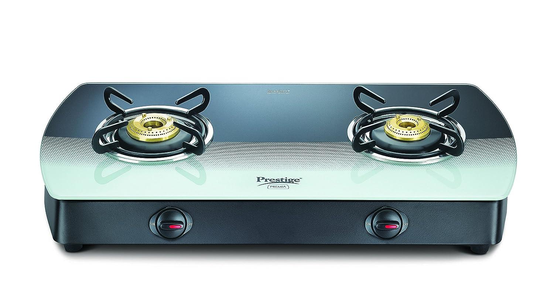 Amazon.com: Prestige Premia Glass 2 Burner Gas Stove, Black/White ...