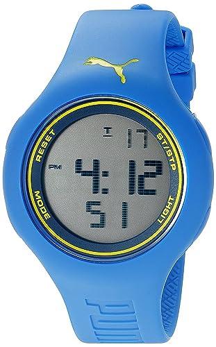 Puma Empower L - Reloj digital con correa de poliuretano unisex, color azul/amarillo: Amazon.es: Relojes