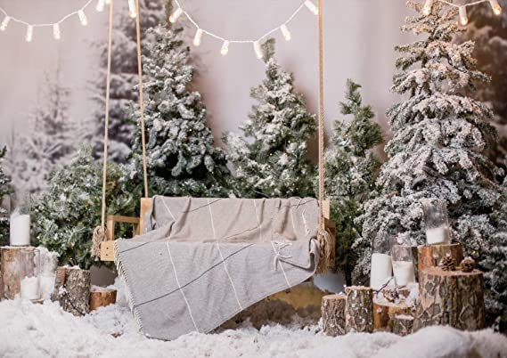 LB Winter Backdrops for Photography Christmas Snow Backdrop Arched Cedar Pine Balls Photo Background 7x5ft Customized Photo Booth Props