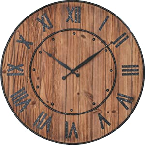 Shinedecor Decor Wall Clock 24 Inches, Decorative Clock Large Size with Roman Numerals for Home, Office & School, Round, Wall Hung, Battery Operated, Floating Wood Background with Metal Frame