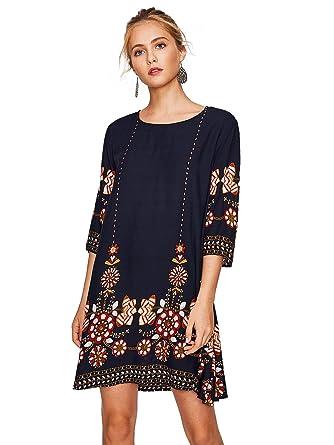 a7371c410c74 Floerns Women's Print Casual Summer Tunic Tshirt Dress at Amazon ...