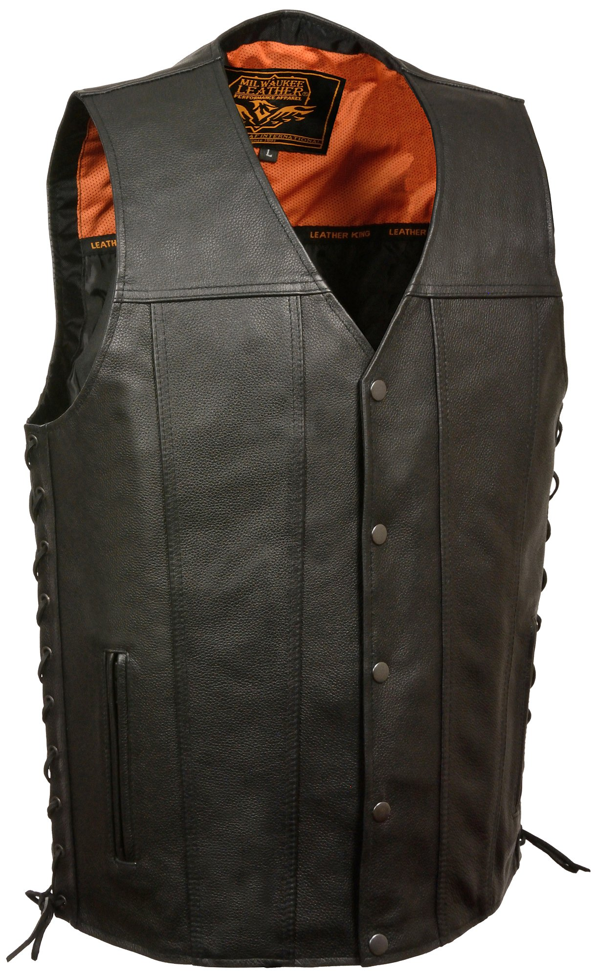 Milwaukee Men's Straight Bottom Side Lace Vest (Black, 5X-Large) by Milwaukee