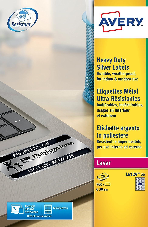 Avery Espa/ña L6111-20 Caja de 20 etiquetas amarillo fluorescentes de poli/éster