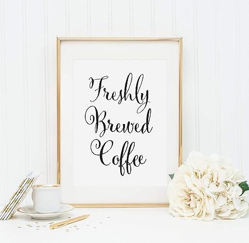 Amazon Freshly Brewed Coffee Wedding Drinks Sign Coffee Bar