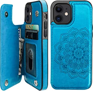 Vaburs Compatible with iPhone 12 and iPhone 12 Pro Case Wallet with Card Holder,Embossed Mandala Pattern Flower PU Leather Double Magnetic Buttons Flip Shockproof Protective Cover 6.1 Inch(Blue)