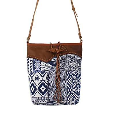 Novica Cotton tote handbag, Geometric Adventure