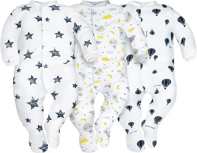 SIBINULO Jungen M/ädchen Schlafstrampler mit ABS 4er Pack