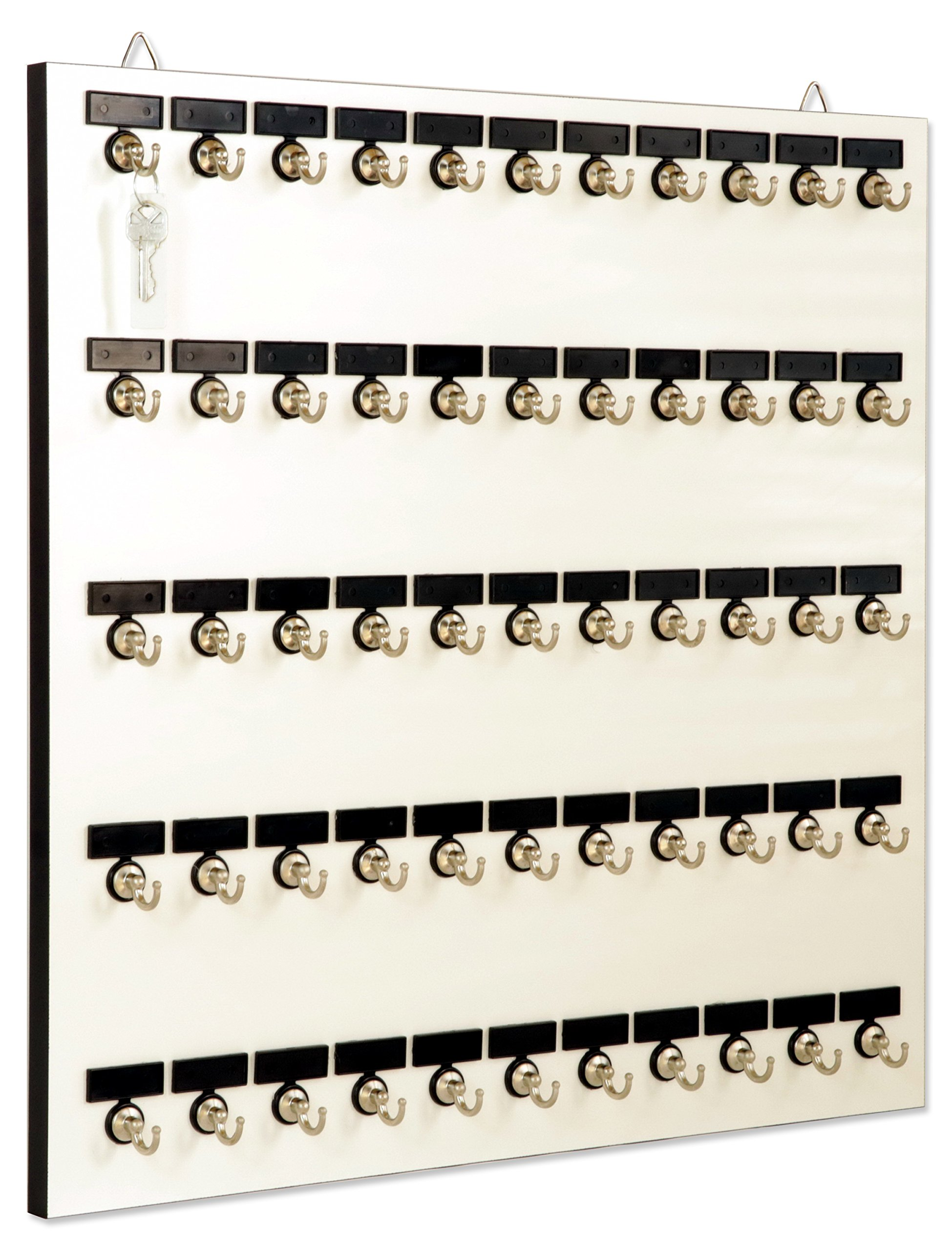 KEY STAND # 55MWN, 55 Bolted Metal Hooks with 'Customize Name Plates' and 1-55 Printed Numbers (55 sets of Tag & Ring Included)
