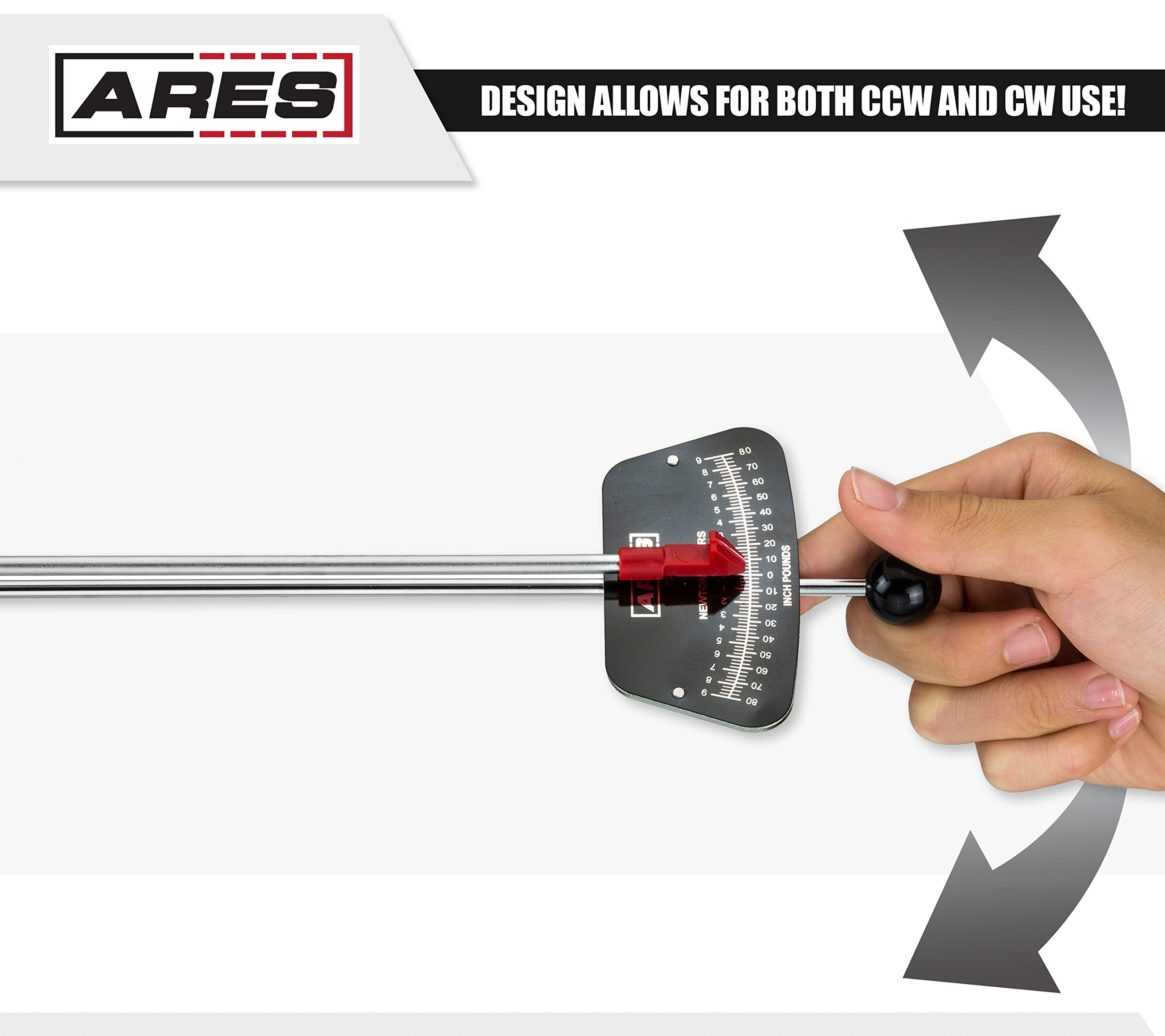 ARES 70213 | 1/4-inch Drive Beam Torque Wrench | 0-80 in/lb and 0-9 Newton Meter Torque Wrench | High Visibility Markings for Easy Readings by ARES (Image #5)