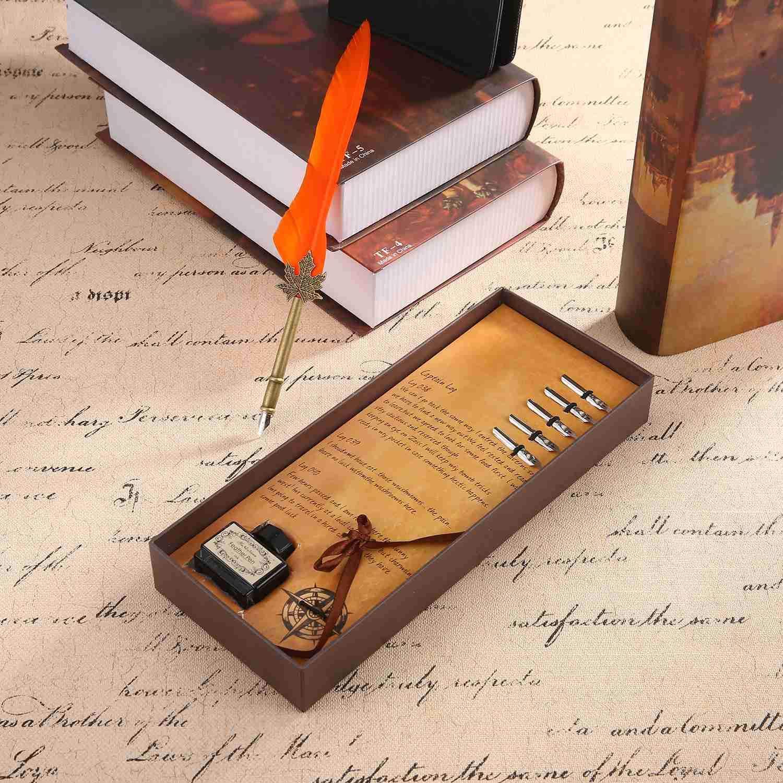 Penna stilografica Scritta a Mano in Metallo con Penna a Inchiostro Extra 5 Rosa AOLVO Penna a Penna Feather Set Calligraphy Pen