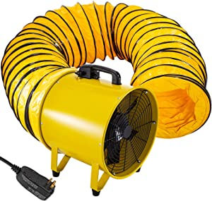 BestEquip Utility Blower Fan 16 inch Two Speed Portable Ventilator 110V 1100W with 10M Duct Hose High Velocity Utility Blower