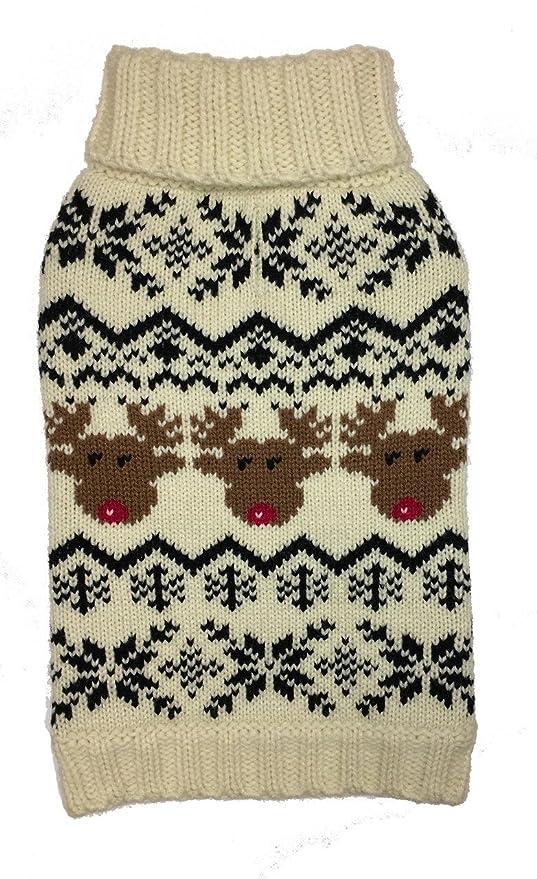 a5ba341e5767 Amazon.com   fabdog Reindeer Fairisle Dog Sweater Cream (10