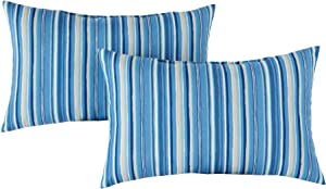 Greendale Home Fashions Set of 2 Outdoor 19x12-inch Rectangle Throw Pillows, Steel Blue Stripe