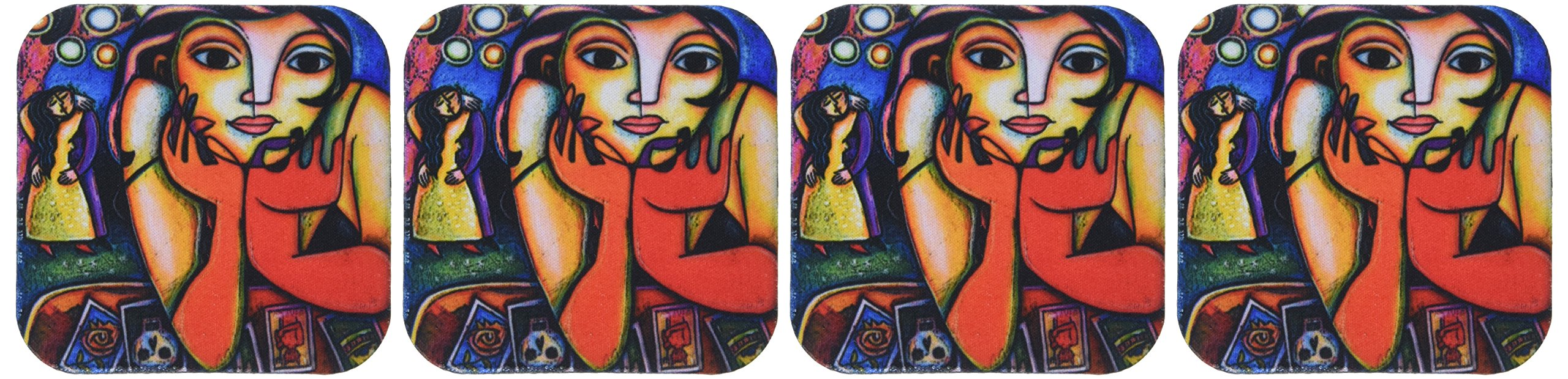 3dRose cst_21203_1 Loteria Woman Colorful Romance Dance Lottery Party Soft Coasters, Set of 4