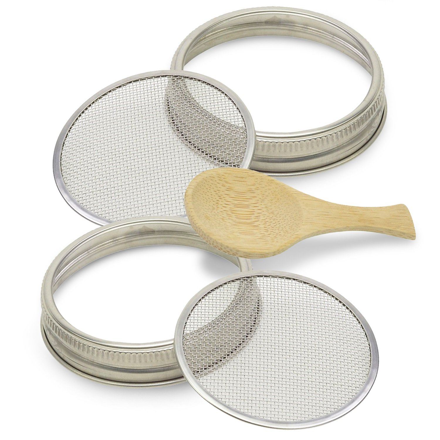 Elan Products Sprouting Lids Plus a Bonus Organic Bamboo Spoon. Pure Stainless Steel Seed Sprouter Screens and Rings Turn Your Wide Mouth Mason Canning Jar Into a DIY Sprouting Kit (2 sets).