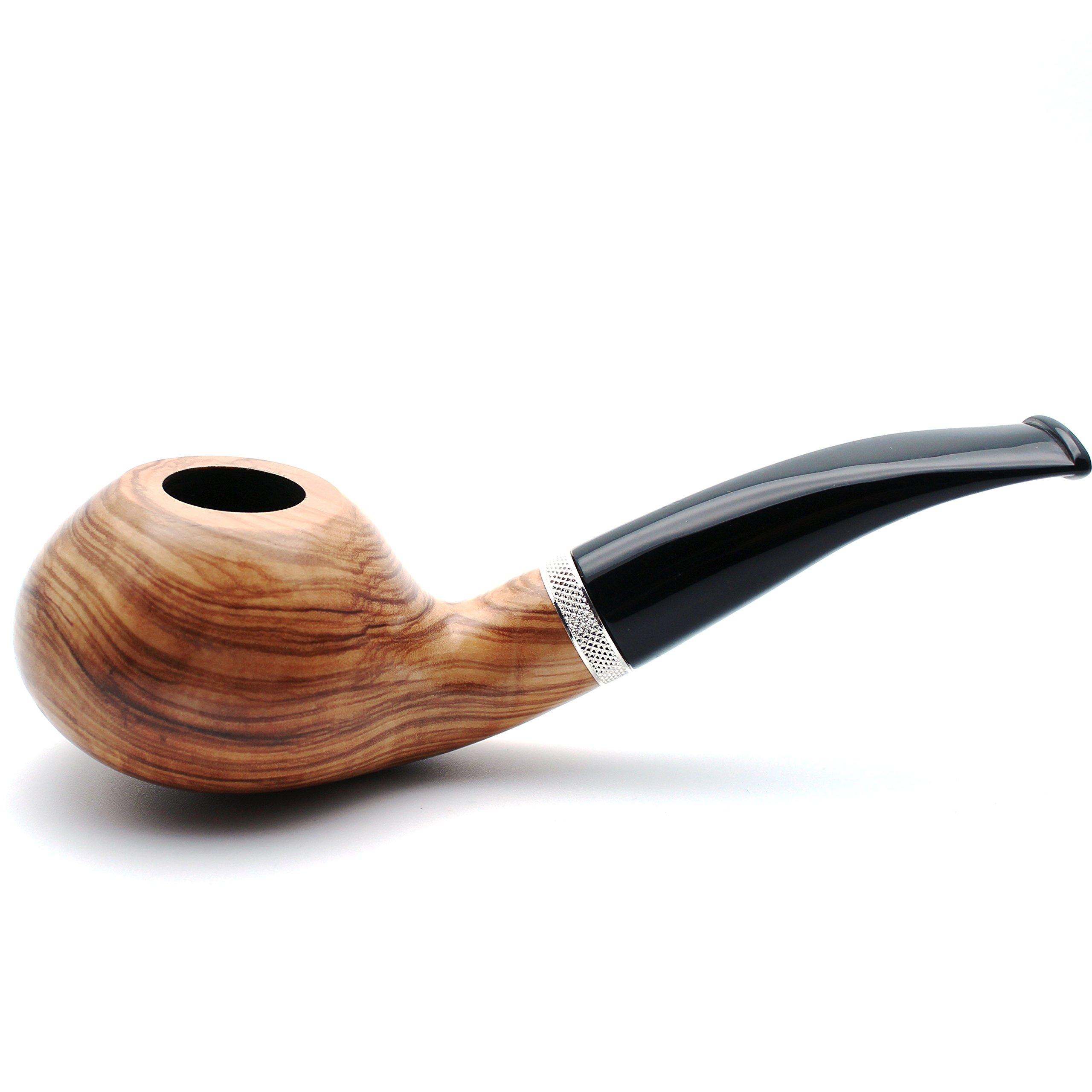 Mr. Brog Handmade Smoking Tobacco Pipe - Model No. 148 Pebble Natural - Italian Olive Wood